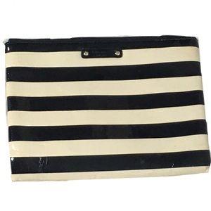 KATE SPADE New York Black Cream Stripe Makeup Bag